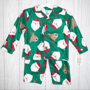 Carters Santa & reindeer Christmas 2 pc pajamas.